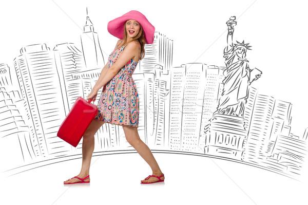 Genç kadın seyahat ABD kız mutlu arka plan Stok fotoğraf © Elnur