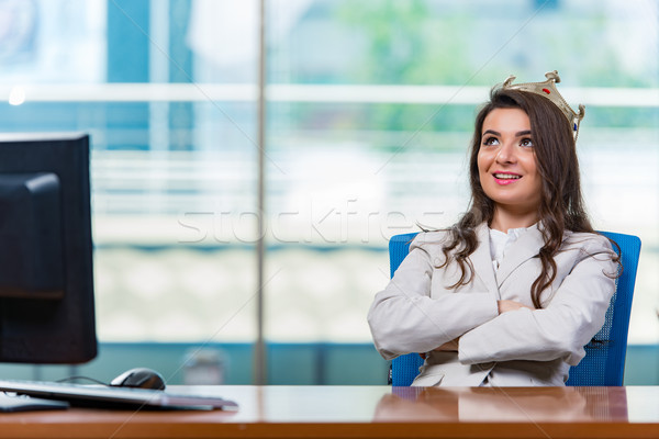 Foto d'archivio: Imprenditrice · seduta · donna · lavoro · monitor