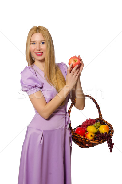 Blondie woman holding basket with fruits isolated on white Stock photo © Elnur