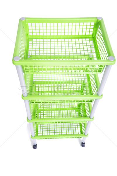 Grünen Rack Regal Räder isoliert Stock foto © Elnur