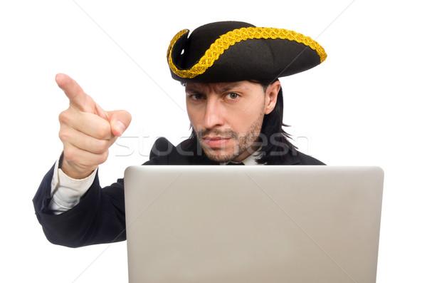 Pirate businessman holding laptop isolated on white Stock photo © Elnur