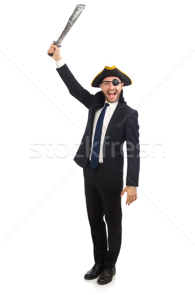 Stock photo: Pirate businessman with sabre isolated on white