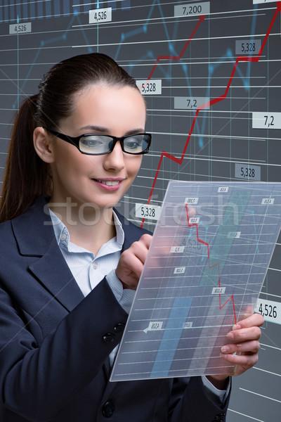 Femme d'affaires ligne stock commerce affaires femme Photo stock © Elnur