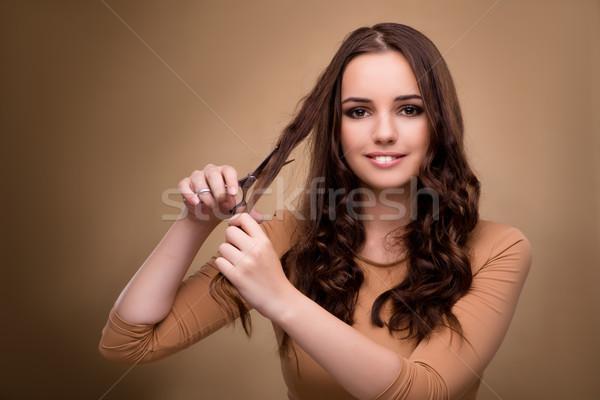 Stock fotó: Gyönyörű · nő · olló · vág · haj · textúra · modell