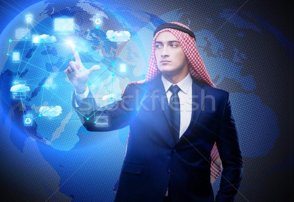 Arab man in cloud computing concept Stock photo © Elnur