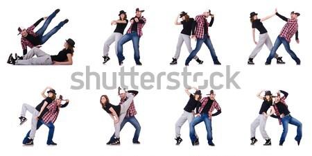 Stockfoto: Danser · dansen · geïsoleerd · witte · naakt · man