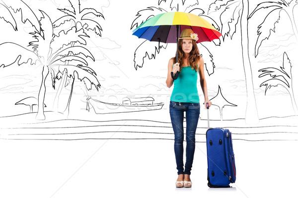 Fiatal nő utazás trópusi sziget utazás tengerpart nap Stock fotó © Elnur