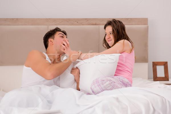 Familie conflict vrouw echtgenoot bed vrouw Stockfoto © Elnur