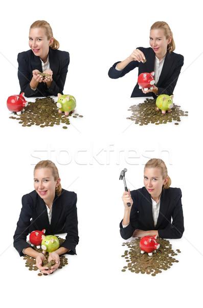 Stok fotoğraf: Kadın · kumbara · tasarruf · iş · alışveriş · işadamı