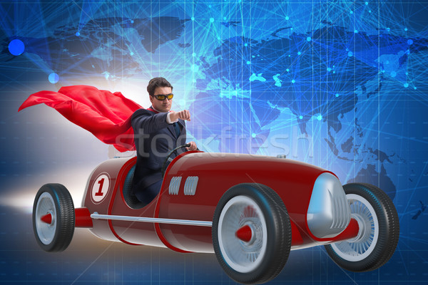 Superhero businessman driving vintage roadster Stock photo © Elnur