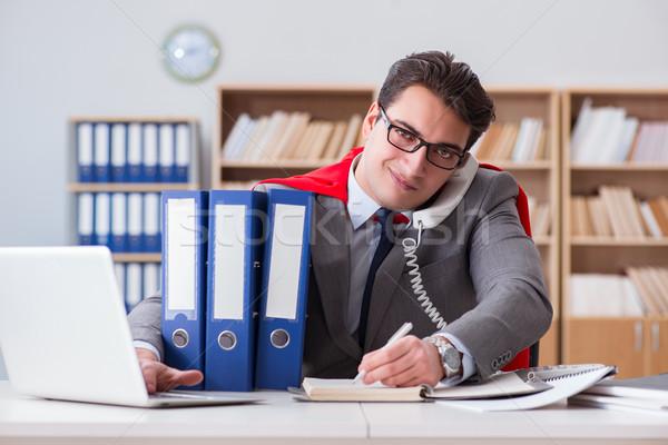 Szuperhős üzletember dolgozik iroda számítógép munka Stock fotó © Elnur
