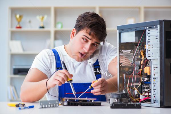 Stockfoto: Computer · telefoon · man