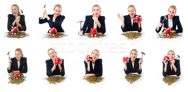 Woman breaking piggy bank for savings Stock photo © Elnur