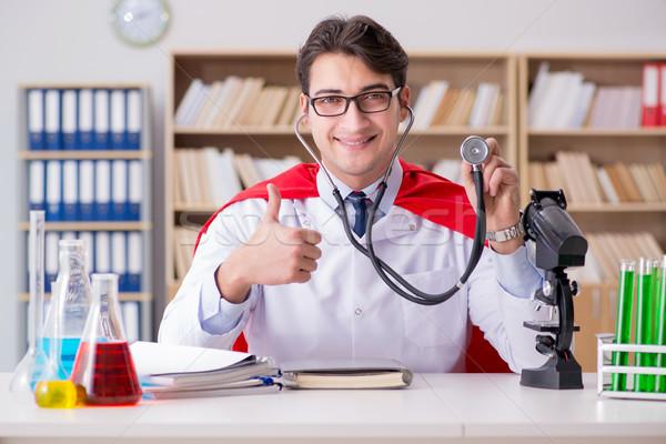 Superhero врач рабочих лаборатория больницу студент Сток-фото © Elnur