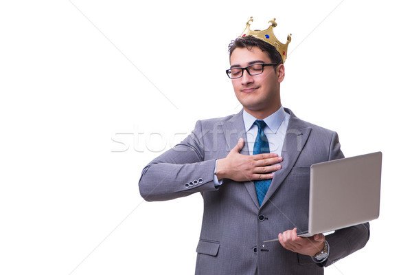 king businessman holding a laptop isolated on white background Stock photo © Elnur