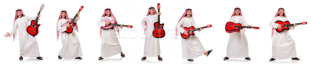 Stock photo: Arab man playing guitar isolated on white