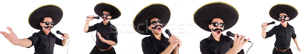 Stock photo: The funny man wearing mexican sombrero hat isolated on white