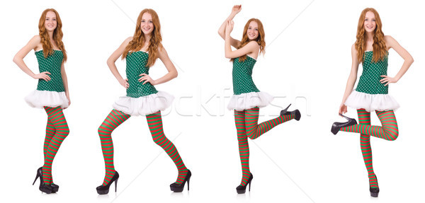 Woman in saint patrick clothes isolated on white Stock photo © Elnur