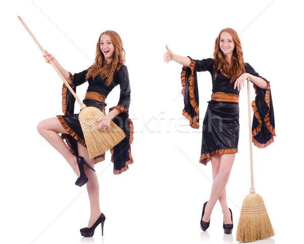 Nice witch with broom on white Stock photo © Elnur