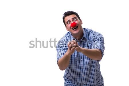 Drôle homme clown isolé blanche fête Photo stock © Elnur