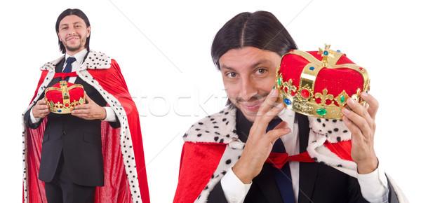 Rei empresário isolado branco homem diversão Foto stock © Elnur