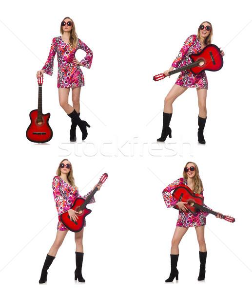 Nő gitáros izolált fehér zene boldog Stock fotó © Elnur