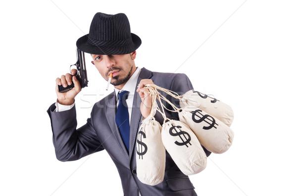 Stockfoto: Zakenman · crimineel · geld · man · masker · zak