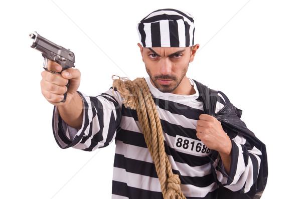 Prigioniero gun isolato bianco legge giustizia Foto d'archivio © Elnur