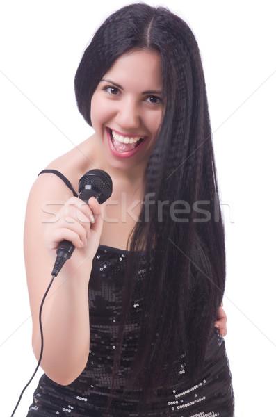 Jonge vrouwelijke zanger witte partij gelukkig Stockfoto © Elnur