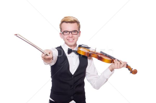 Stock fotó: Vicces · hegedű · játékos · fehér · férfi · hang