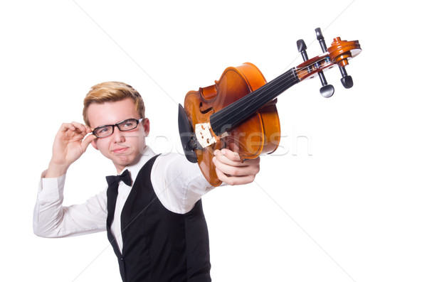 Funny violin player on white Stock photo © Elnur