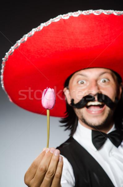 Divertente mexican sombrero fiori party amore Foto d'archivio © Elnur