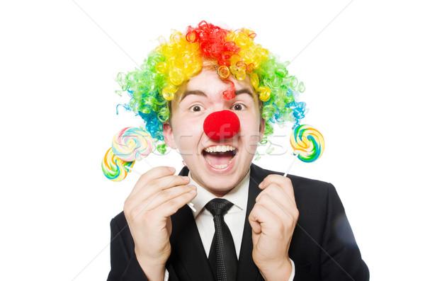 Zdjęcia stock: Clown · lizak · odizolowany · biały · twarz · candy