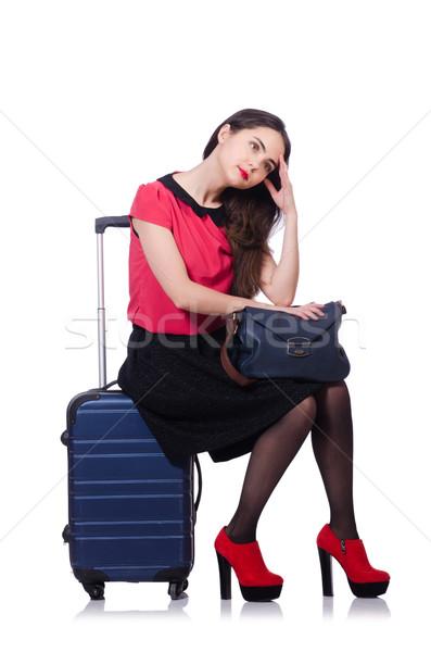 Podróży wakacje bagażu biały dziewczyna szczęśliwy Zdjęcia stock © Elnur