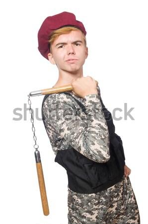 смешные солдата изолированный белый человека фон Сток-фото © Elnur