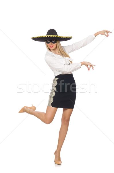 Nő visel szombréró izolált fehér boldog Stock fotó © Elnur