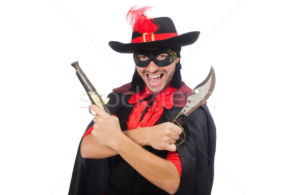 Young man in carnival coat with gun isolated on white Stock photo © Elnur