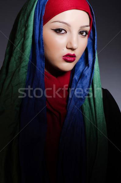 Portré fiatal nő fejkendő nő boldog divat Stock fotó © Elnur