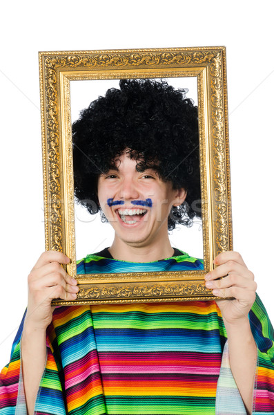 Funny young mexican with photo frame isolated on white Stock photo © Elnur