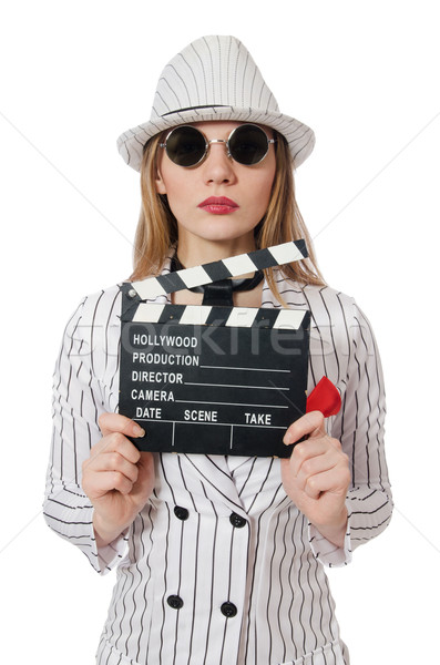 Beautiful girl in striped clothing holding clapperboard isolated Stock photo © Elnur