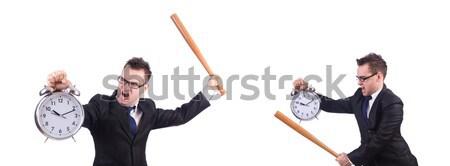 Jonge zakenman wapen geïsoleerd witte werk Stockfoto © Elnur
