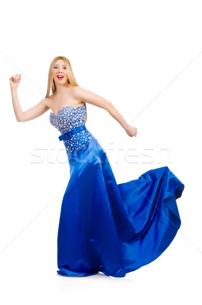 Woman in pretty blue evening dress isolated on white Stock photo © Elnur