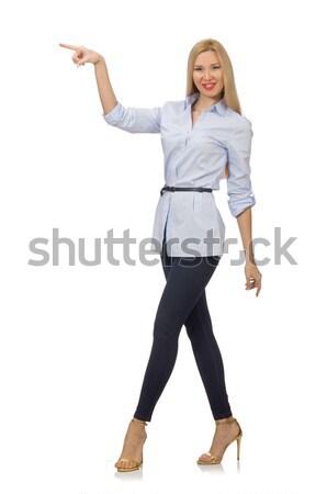 Kadın mavi bluz yalıtılmış beyaz mutlu Stok fotoğraf © Elnur