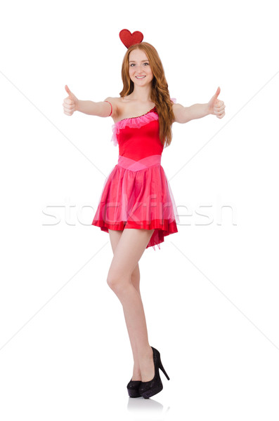 Pretty young model in mini pink dress isolated on white Stock photo © Elnur