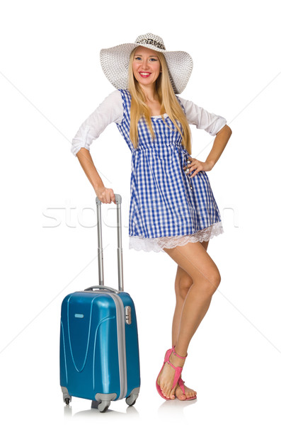 Stock photo: Woman ready for summer travel isolated on white