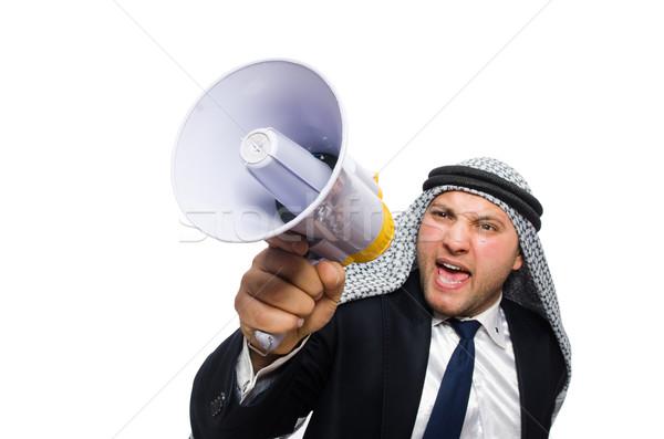 Arab man with loudspeaker isolated on white Stock photo © Elnur