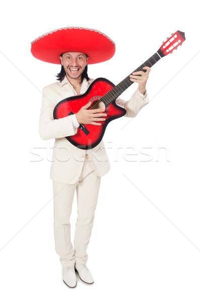 Mexican gitarzysta odizolowany biały strony tle Zdjęcia stock © Elnur