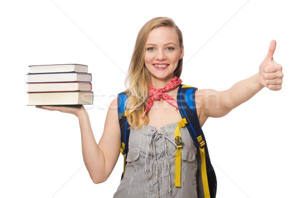 Stock fotó: Fiatal · diák · izolált · fehér · mosoly · könyv