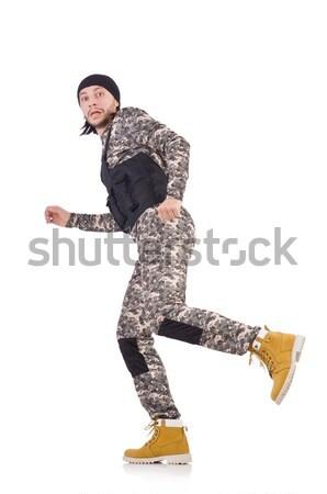 Caucásico soldado aislado blanco fondo verde Foto stock © Elnur