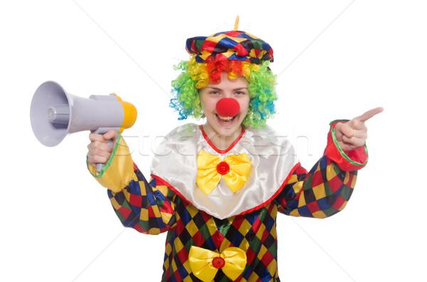 Clown haut-parleur isolé blanche femme heureux Photo stock © Elnur